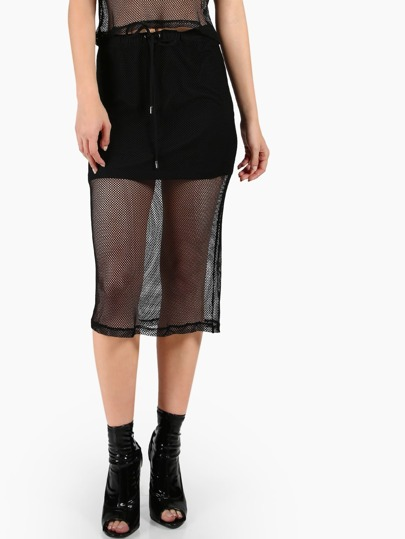 Fishnet Overlay Drawstring Skirt BLACK