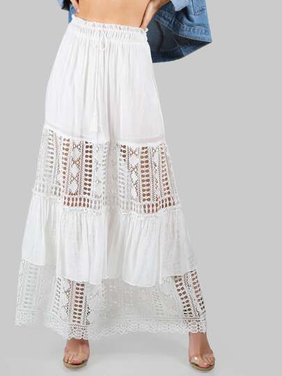 Lace Mix Maxi Skirt OFF WHITE