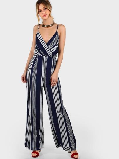 Striped Spaghetti Strap Waist Tie Jumpsuit NAVY