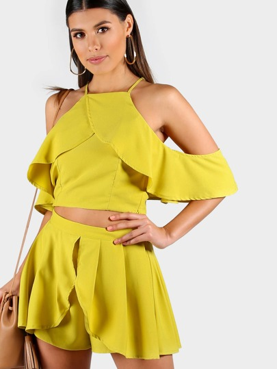Flowy Flounce Spaghetti Strap Crop and Matching Short Set MUSTARD