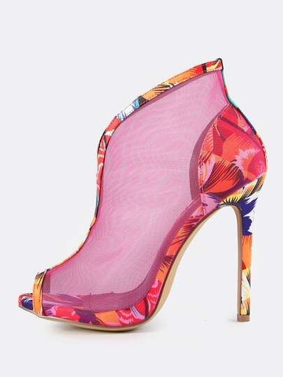 Colorpop Mesh Peep Toe Booties MULTI