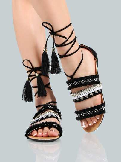Embellished Ankle Wrap Sandals BLACK