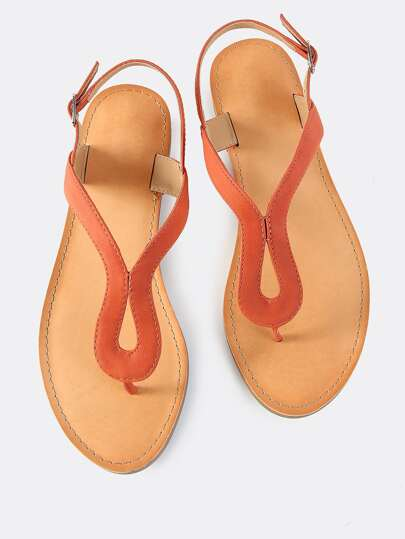 Faux Leather Loop Sandals BURNT ORANGE