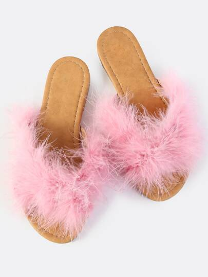 Cross Band Fuzzy Slides BLUSH