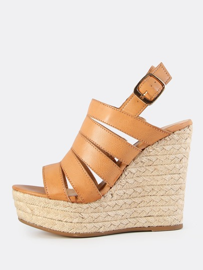 Thick Strap Espadrilles Wedge TAN