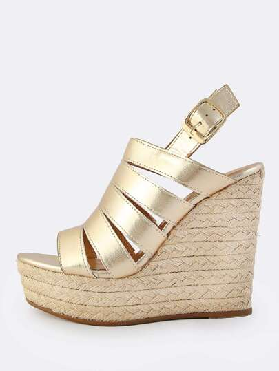Metallic Thick Strap Sling Back Wedges GOLD