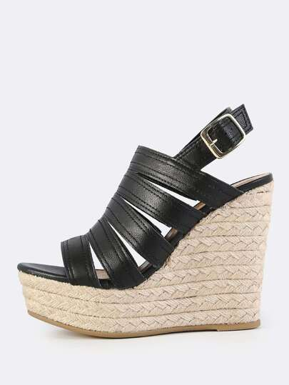 Thick Strap Sling Back Wedge BLACK