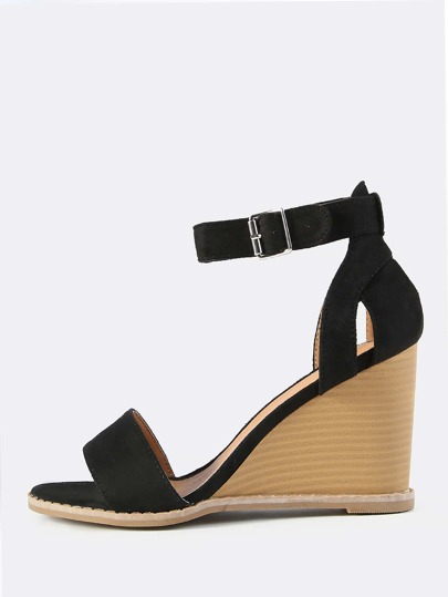 Faux Suede Ankle Strap Wedge BLACK