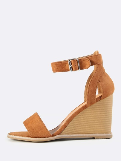 Open Toe Suede Ankle Strap Wedge CAMEL