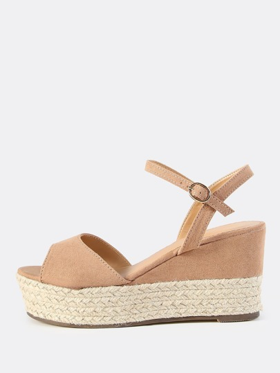 Faux Suede Ankle Strap Flatforms CAMEL