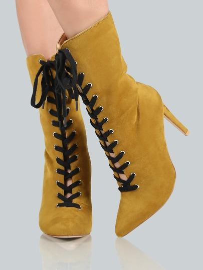 Lace Up Suede Calf Bootie OLIVE