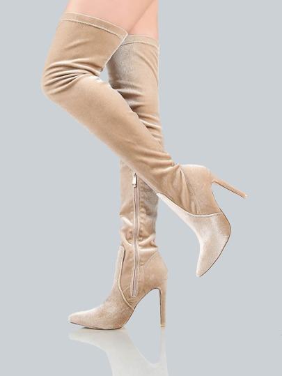 Closed Toe Velvet Thigh Highs CHAMPAGNE