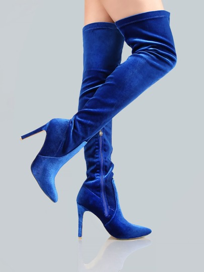 Point Toe Velvet Thigh Highs ROYAL BLUE