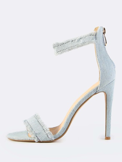Frayed Denim Ankle Strap Heels BLUE