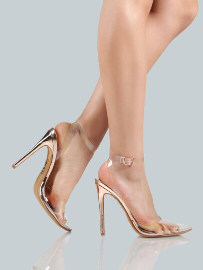 Clear Closed Toe Ankle Strap Heel ROSE GOLD