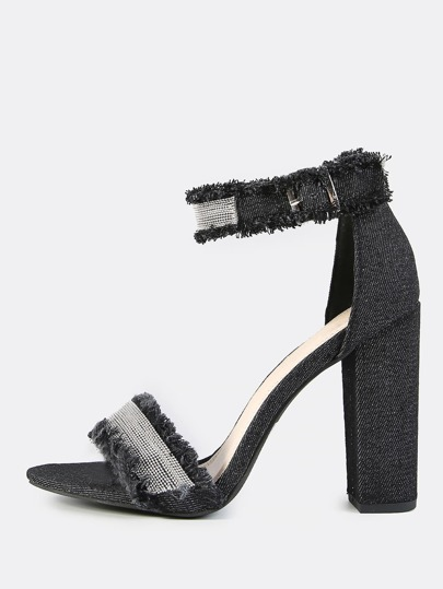 Frayed Beaded Ankle Strap Heels BLACK