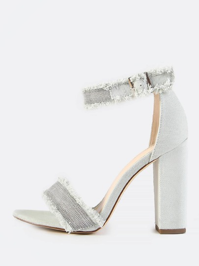 Beaded Denim Ankle Strap Heels SKY BLUE