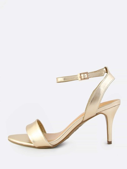 Metallic Ankle Strap Kitten Heel GOLD