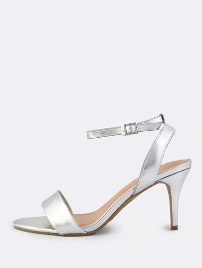 Metallic Kitten Ankle Strap Heel SILVER