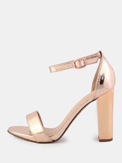 Patent Ankle Strap Heels ROSE GOLD