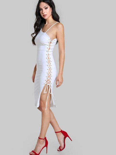 One Shoulder Side Lace Up Bodycon Dress WHITE