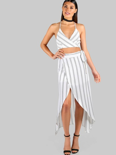 Striped Tie Up Crop and Matching Skirt Set IVORY BLACK