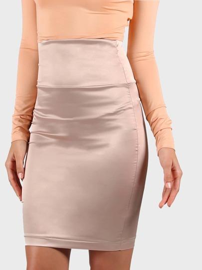 Satin High Waist Miniskirt NUDE