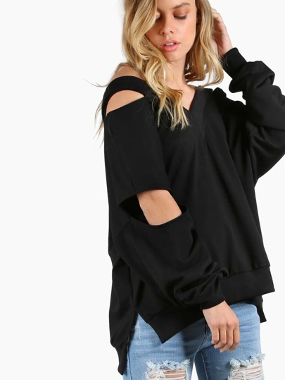 Cold Shoulder Long Sleeve Knit Top BLACK