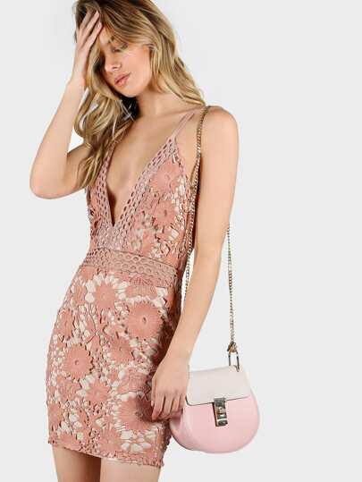 Lace Overlay Plunging Cami Dress