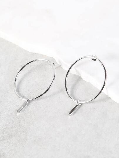 Bar Drop Circle Earrings SILVER