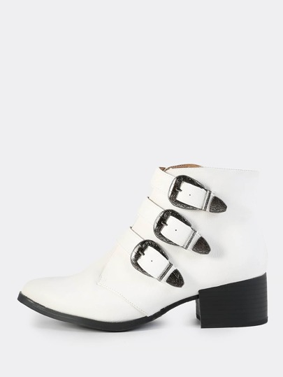 Triple Buckle Western Booties WHITE