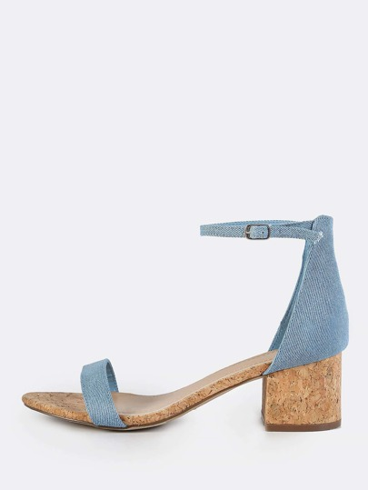 Denim Ankle Strap Cork Heeled Sandals BLUE DENIM