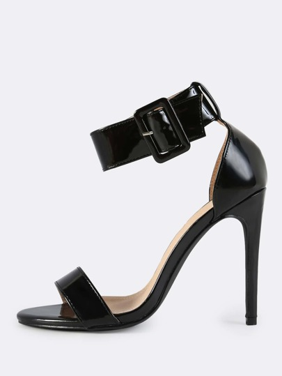 Patent Ankle Strap Heels BLACK