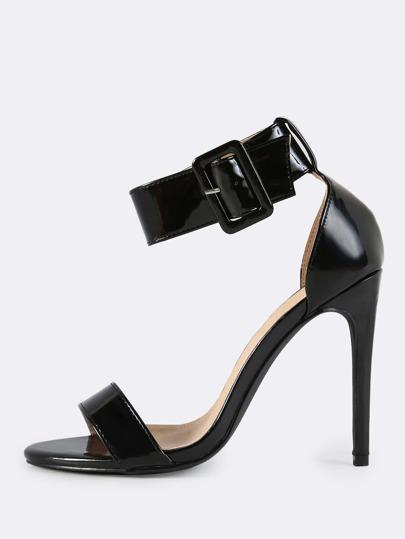 Patent Ankle Strap Heels BLACK