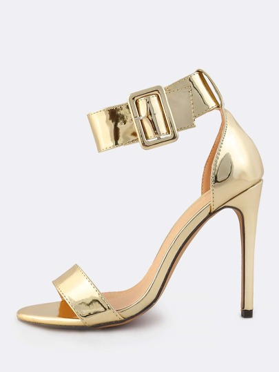 Thick Metallic Ankle Strap Heels GOLD