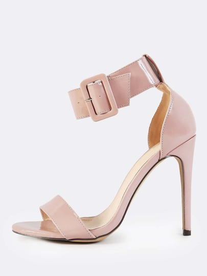 Thick Ankle Strap Patent Heels MAUVE