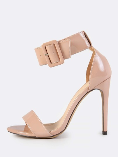 Thick Patent Ankle Strap Heels NUDE