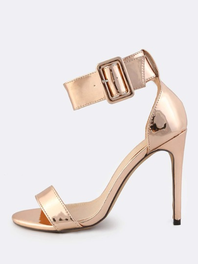 Metallic Patent Ankle Strap Heels ROSE GOLD