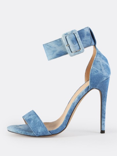 Thick Ankle Strap Denim Heels WASHED DENIM