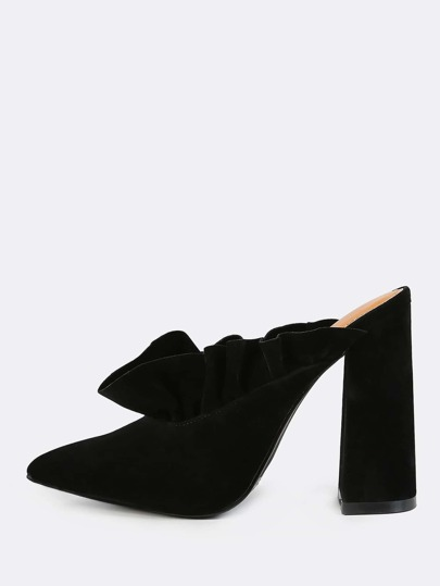 Point Toe Slip On Frill Mules BLACK