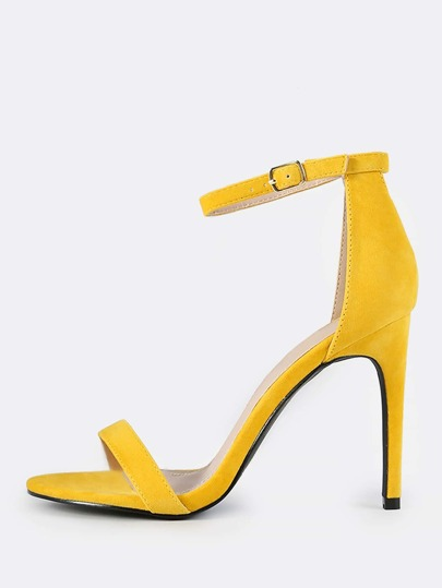 Ankle Strap Suede Heels YELLOW