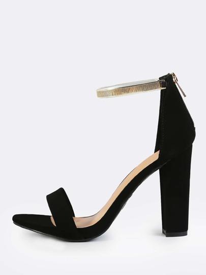 Gold Ankle Strap Heels BLACK