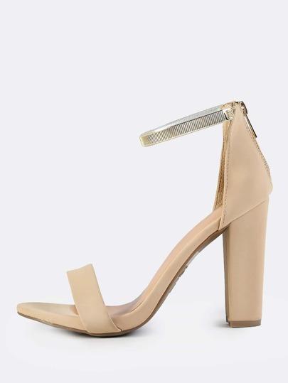 Gold Anklet Strap Heels NUDE