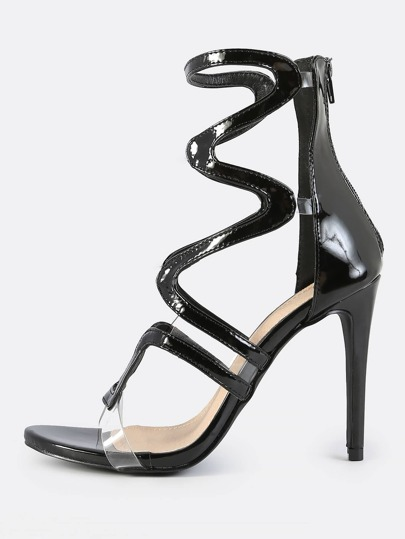 Wavy Cut Patent Stiletto Heel BLACK