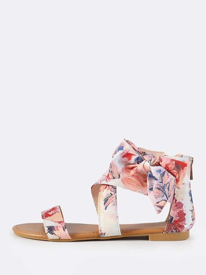 Floral Print Side Bow Flat Sandals BLUSH MULTI