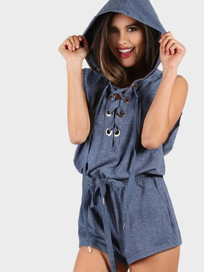 Lace Up Front Knit Romper NAVY
