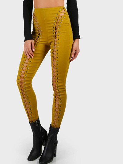 Lace up Grommet High Waist Pants MUSTARD