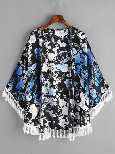Kimono découpé imprimé botanique avec des franges