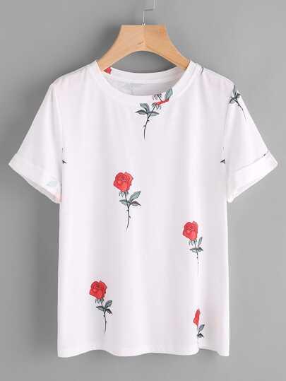 Cuffed Sleeve Rose Print T-shirt