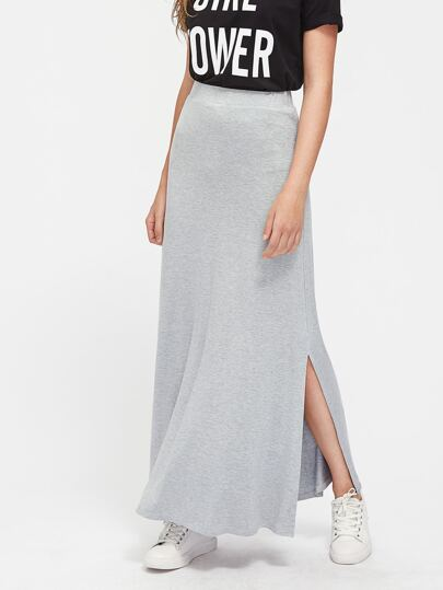 Heather Knit Side Slit Jersey Skirt